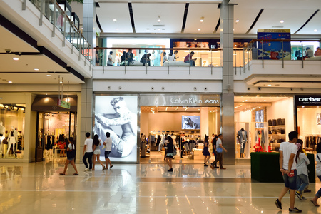 BANGKOK, THAILAND - JUNE 20, 2015: shopping center interior. Shopping malls and department stores such as Siam Paragon, Central World Plaza, Emperium, Gaysorn and Central Chidlom become shopping Mecca for shopaholics Editorial