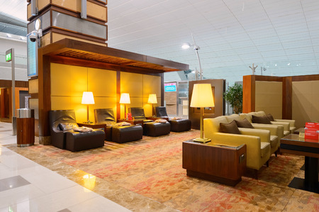 DUBAI - SEPTEMBER 08, 2015: Emirates business class lounge interior. Emirates is the largest airline in the Middle East. It is an airline based in Dubai, United Arab Emirates. Editorial