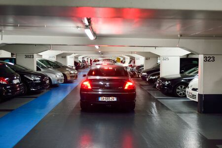 NICE, FRANCE - AUGUST 15, 2015: underground parking. A multi-storey car park is a building designed for car parking and where there are a number of floors or levels on which parking takes place