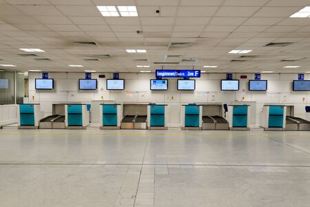 NICE, FRANCE - AUGUST 15, 2015: Nice International Airport interior. It is located 5.9 km southwest of Nice, in the Alpes-Maritimes department of France. It is the third busiest airport in France. Stock Photo - 51054486