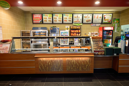 NICE, FRANCE - AUGUST 15, 2015: Subway fast food restaurant interior. Subway is an American fast food restaurant franchise that primarily sells submarine sandwiches (subs) and salads. Éditoriale