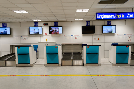 NICE, FRANCE - AUGUST 15, 2015: Nice International Airport interior. It is located 5.9 km southwest of Nice, in the Alpes-Maritimes department of France. It is the third busiest airport in France. Stock Photo - 51054142