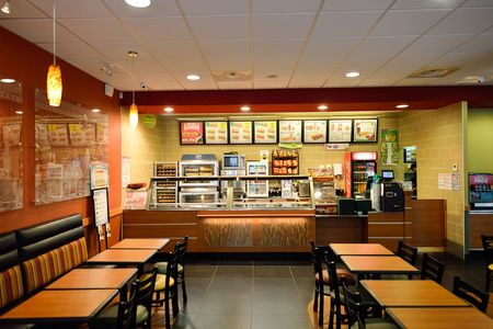 NICE, FRANCE - AUGUST 15, 2015: Subway fast food restaurant interior. Subway is an American fast food restaurant franchise that primarily sells submarine sandwiches (subs) and salads. Sajtókép