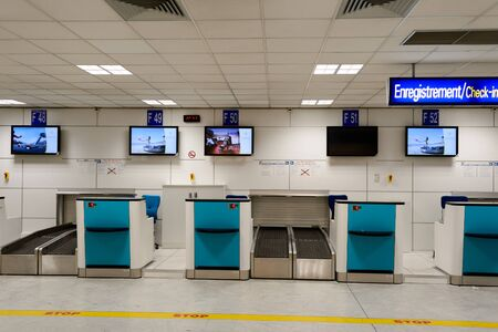 NICE, FRANCE - AUGUST 15, 2015: Nice International Airport interior. It is located 5.9 km southwest of Nice, in the Alpes-Maritimes department of France. It is the third busiest airport in France. Stock Photo - 51054064