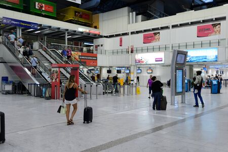 NICE, FRANCE - AUGUST 15, 2015: Nice International Airport interior. It is located 5.9 km southwest of Nice, in the Alpes-Maritimes department of France. It is the third busiest airport in France. Editorial