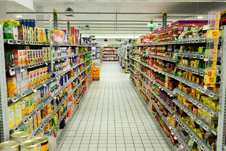 BEGLES, FRANCE - AUGUST 13, 2015: Simply Market supermarket interior. Simply Market is a brand of French supermarkets formed in 2005. This brand is a new concept to eventually replace Atac supermarkets Editorial