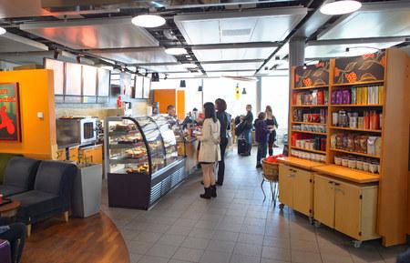GENEVA, SWITZERLAND - NOVEMBER 19, 2015: Starbucks Cafe interior. Starbucks Corporation is an American global coffee company and coffeehouse chain based in Seattle, Washington Editorial