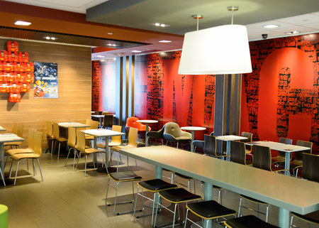 SHENZHEN, CHINA - MAY 25, 2015:  interior of McDonalds restaurant. McDonalds is the worlds largest chain of hamburger fast food restaurants, founded in the United States. Sajtókép