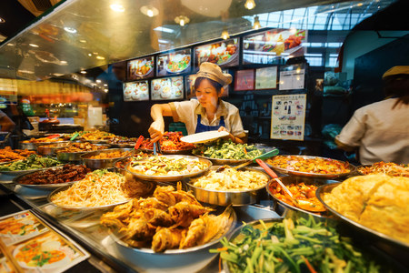 SINGAPORE - NOVEMBER 08, 2015: choice of prepared food in the cafe at the food court of The Shoppes at Marina Bay Sands. The Shoppes at Marina Bay Sands is one of Singapores largest luxury shopping malls