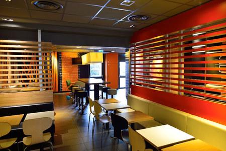 GENEVA, SWITZERLAND   NOVEMBER 19, 2015: McDonalds Restaurant Interior.  McDonalds Is The
