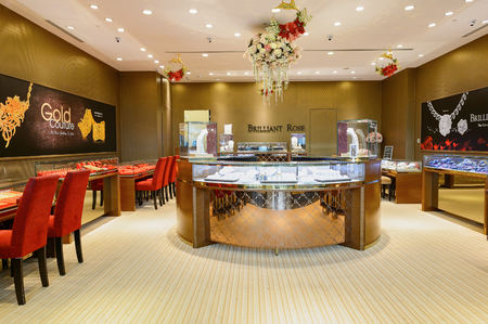 SINGAPORE - NOVEMBER 08, 2015: interior of jewellery store in The Shoppes at Marina Bay Sands. The Shoppes at Marina Bay Sands is one of Singapore's largest luxury shopping malls Editorial