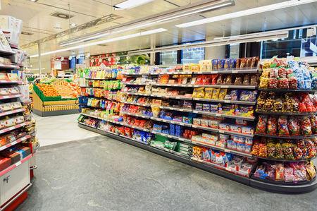 GENEVA, SWITZERLAND - SEPTEMBER 19, 2015: interior of Migros supermarket. Migros is Switzerland's largest retail company, its largest supermarket chain and largest employer Éditoriale