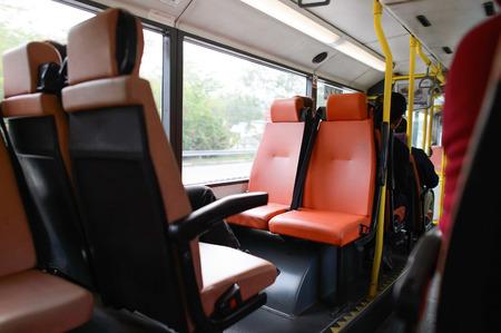 Hong Kong double decker bus interior Editorial