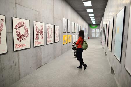 HONG KONG - 4 februari 2015: kunsttentoonstelling in Hong Kong Heritage Museum. Hong Kong Heritage Museum is een museum van de geschiedenis, kunst en cultuur in Sha Tin, Hong Kong, gelegen naast de rivier de Shing Mun.