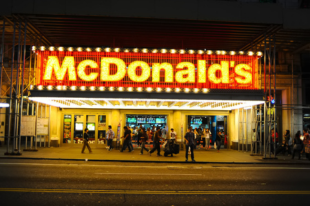NEW-YORK, USA - SEPTEMBER 28, 2011: McDonals's restaurant facade. The McDonald's Corporation is the world's largest chain of hamburger fast food restaurants, serving around 68 million customers daily in 119 countries across 35,000 outlets