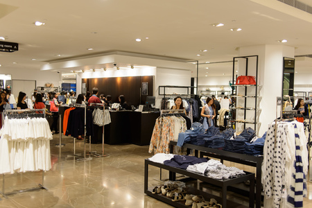 HONG KONG - MAY 05, 2015: Zara store interior. Zara is a Spanish clothing and accessories retailer based in Arteixo, Galicia, and founded in 1975 by Amancio Ortega and Rosalía Mera