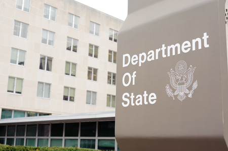 """WASHINGTON, D.C. - DEC 18: department of state board on December 18, 2009 in Washington, D.C., USA. Washington, D.C., formally the District of Columbia and commonly referred to as Washington, """"the District"""", or simply D.C., is the capital of the United St"""