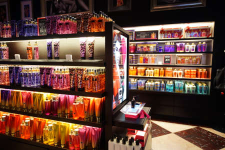 HONG KONG - JANUARY 28, 2016: interior of Victoria's Secret store. Victoria's Secret is the largest American retailer of women's lingerie. The company sells lingerie, womenswear, and beauty products Editoriali
