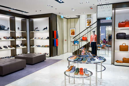 HONG KONG - JANUARY 26, 2016: inside of Bally store at Elements Shopping Mall. Elements is a large shopping mall located on 1 Austin Road West, Tsim Sha Tsui, Kowloon, Hong Kong Editorial