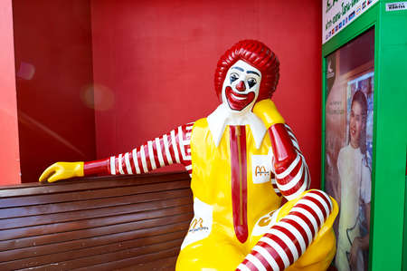 PATTAYA, THAILAND - FEBRUARY 21, 2016: Ronald McDonald character near McDonald's restaurant. Ronald McDonald is a clown character used as the primary mascot of the McDonald's fast-food restaurant chain. Editorial