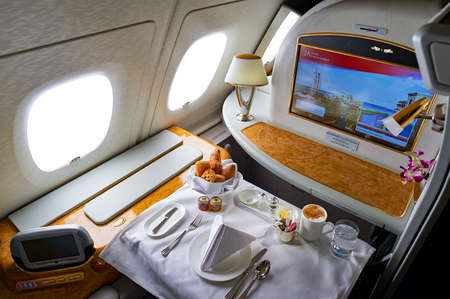 DUBAI, UAE - MARCH 31, 2015: interior of Emirates Airbus A380. Emirates is one of two flag carriers of the United Arab Emirates along with Etihad Airways and is based in Dubai.