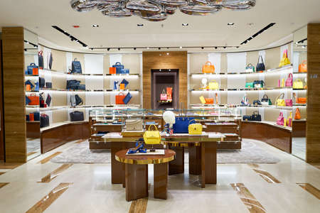 HONG KONG - JANUARY 27, 2016: interior of Salvatore Ferragamo store at Elements Shopping Mall. Elements is a large shopping mall located on 1 Austin Road West, Tsim Sha Tsui, Kowloon, Hong Kong Editorial