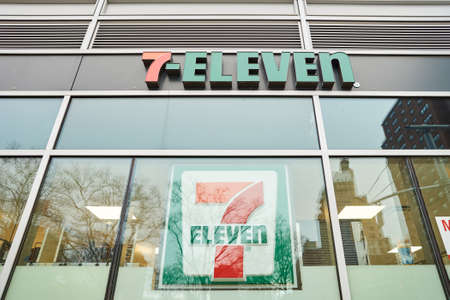 NEW YORK - CIRCA MARCH 2016: exterior of 7-Eleven shop. 7-Eleven (7-11) is an international chain of convenience stores, headquartered in the American city of Dallas, Texas.