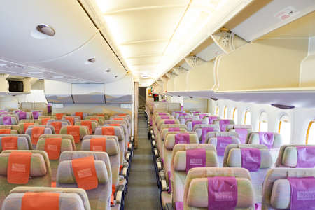 BANGKOK, THAILAND - SEPTEMBER 09, 2015: inside of Emirates Airbus A380. The Airbus A380 is a double-deck, wide-body, four-engine jet airliner manufactured by Airbus. It is the world's largest passenger airliner.