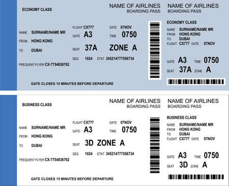 Vector Image Of Airline Boarding Pass Tickets With Barcode Royalty