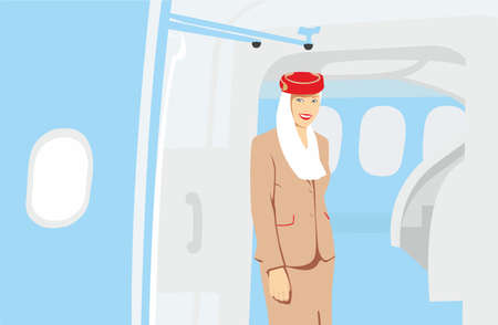 January 31, 2015: A vector illustration of Emirates crew member in Airbus A380 aircraft. Emirates handles major part of passenger traffic and aircraft movements at the airport.