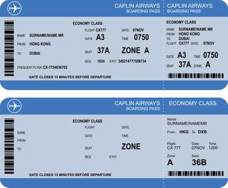 バーコードとパス券を搭乗航空会社のベクトル画像