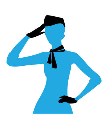 vector image of flight attendant silhouette, isolated on white