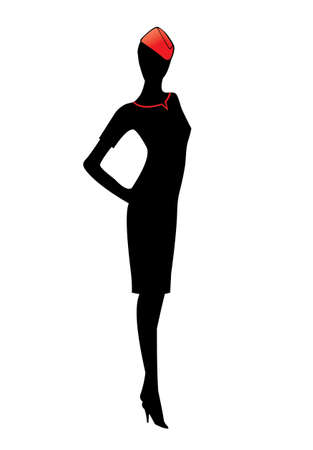 vector image of flight attendant silhouette, isolated on white Vettoriali