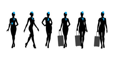 vector image of flight attendantes silhouette, isolated on white