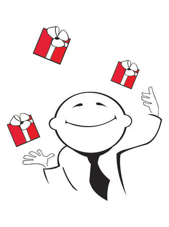 vector image of businessman juggle by gifts, isolated on white