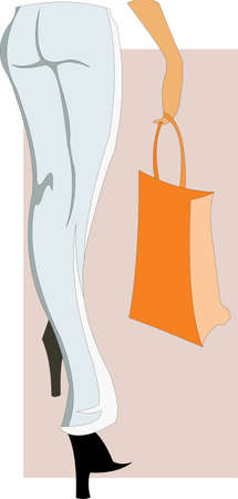 vector image of woman legs and orange bag. good use for shopping theme Ilustração