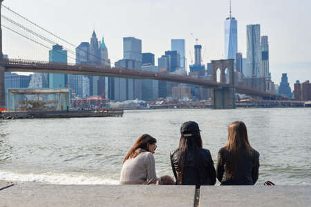 NEW YORK - CIRCA MARCH, 2016: outdoor lifestyle portrait of young people in Brooklyn, New York. The City of New York is the most populous city in the United States Redakční