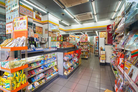 MACAO, CHINA - FEBRUARY 17, 2016: interior of 7-Eleven store in Macao. 7-Eleven is an international chain of convenience stores. Publikacyjne