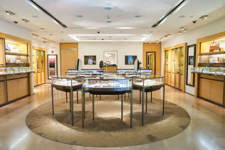 NEW YORK - APRIL 06, 2016: Cartier store in JFK Airport. Societe Cartier designs, manufactures, distributes and sells jewellery and watches. Founded in Paris, France in 1847 Stock Photo - 63407232