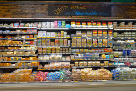 CHICAGO, IL - CIRCA MARCH, 2016: inside of Whole Foods Market. Whole Foods Market Inc. is an American supermarket chain exclusively featuring foods without artificial preservatives, colors, flavors, sweeteners, and hydrogenated fats.