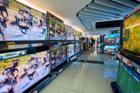 HONG KONG - CIRCA JANUARY, 2016: an electronic store at shopping center in Hong Kong. Shopping is a widely popular social activity in Hong Kong.
