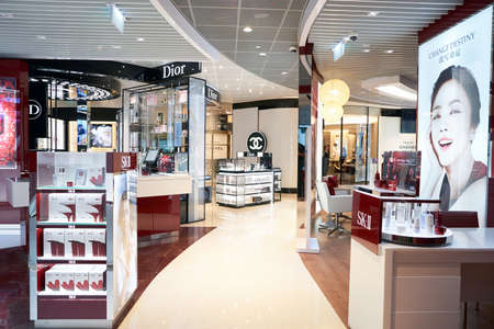 SINGAPORE - CIRCA AUGUST, 2016: a cosmetics store at Changi Airport. Cosmetics, also known as make-up, are substances or products used to enhance the appearance or fragrance of the body. Editorial