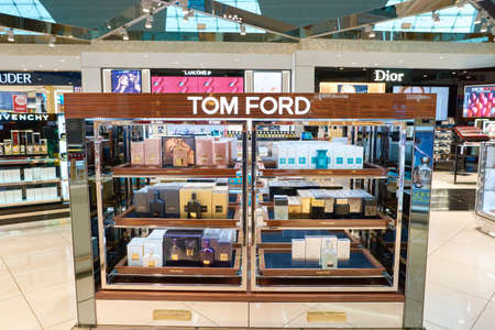 DUBAI, UAE - CIRCA NOVEMBER, 2016: duty free at Dubai International Airport. It is the primary airport serving Dubai and is the worlds busiest airport by international passenger traffic. Sajtókép