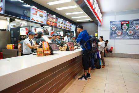 DUBAI, UAE - CIRCA NOVEMBER, 2016: Burger King restaurant at Dubai International Airport. Burger King is an American global chain of hamburger fast food restaurants.