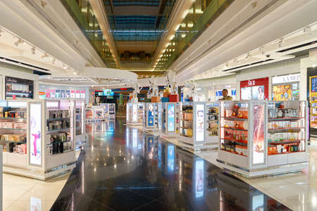 DUBAI, UAE - CIRCA NOVEMBER, 2016: duty free at Dubai International Airport. It is the primary airport serving Dubai and is the worlds busiest airport by international passenger traffic. Editorial