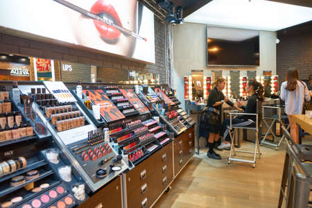 HONG KONG - CIRCA NOVEMBER, 2016: cosmetics for sale in Hong Kong. Hong Kong's cosmetics market is highly competitive and having no sales taxes. Editorial