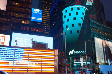 NEW YORK, NY - MARCH 14, 2016: Nasdaq at Times Square. The Nasdaq Stock Market is an American stock exchange