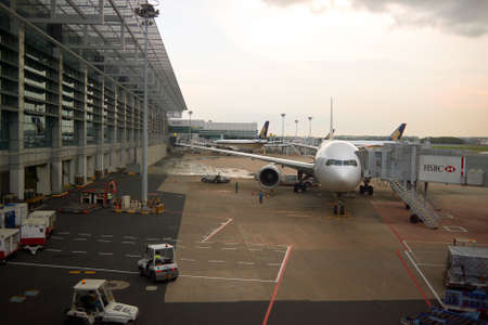 SINGAPORE - CIRCA NOVEMBER, 2015: view from Changi Airport Terminal 3. Changi Airport, is the primary civilian airport for Singapore, and one of the largest transportation hubs in Southeast Asia. Redakční