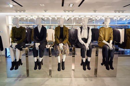 HONG KONG - CIRCA NOVEMBER, 2016: inside H & M store in Hong Kong. H & M Hennes & Mauritz AB is a Swedish multinational retail-clothing company, known for its fast-fashion clothing. Editorial