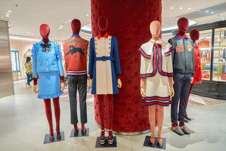 HONG KONG - CIRCA NOVEMBER, 2016: Gucci store at the Elements shopping mall. Elements is a large shopping mall located on 1 Austin Road West, Tsim Sha Tsui, Kowloon, Hong Kong